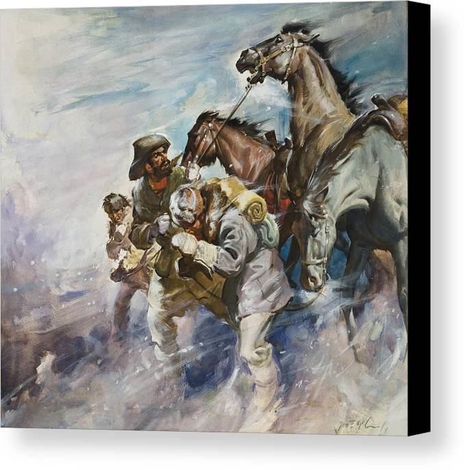 Men Canvas Print featuring the painting Men And Horses Battling A Storm by James Edwin McConnell