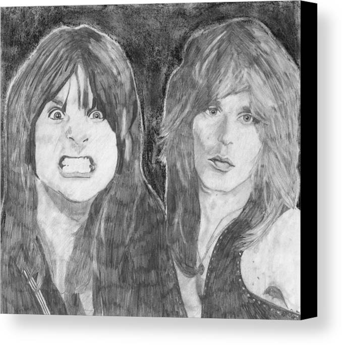 Ozzy Osbourne Canvas Print featuring the drawing Ozzy Osbourne And Randy Rhoads by Bari Titen