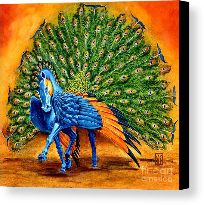 Horse Canvas Print featuring the painting Peacock Pegasus by Melissa A Benson