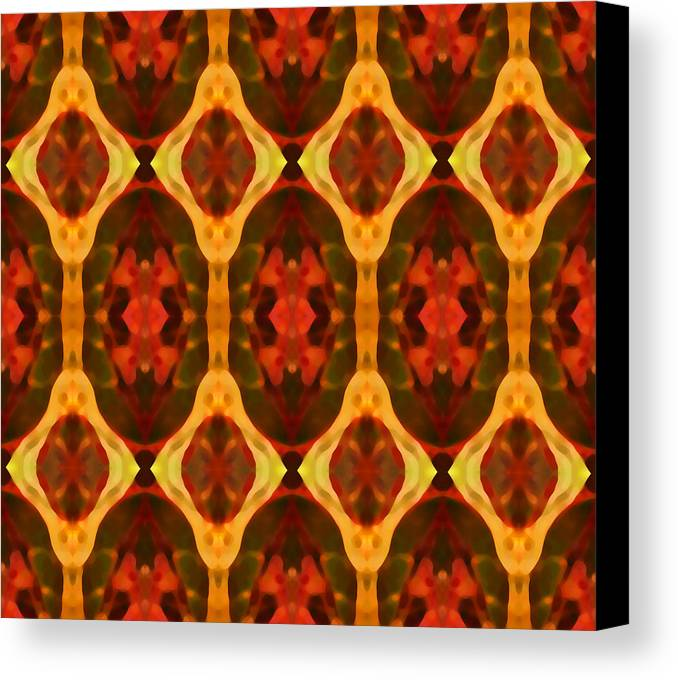 Abstract Canvas Print featuring the painting Ruby Glow Pattern by Amy Vangsgard