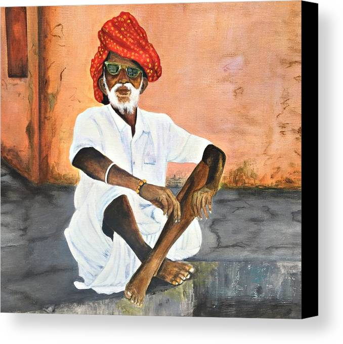Cities In India Canvas Print featuring the painting Street Life by Colleen Walker