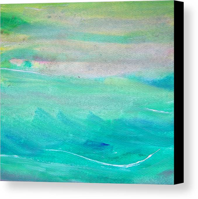 Abstract Canvas Print featuring the painting Surfing--waiting For The Perfect Wave by Judith Redman