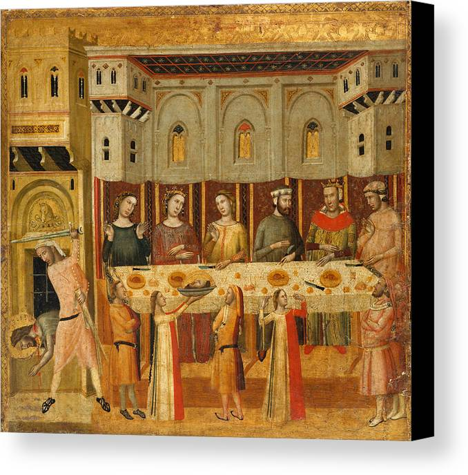 Giovanni Baronzio Canvas Print featuring the painting The Feast Of Herod And The Beheading Of The Baptist by Giovanni Baronzio