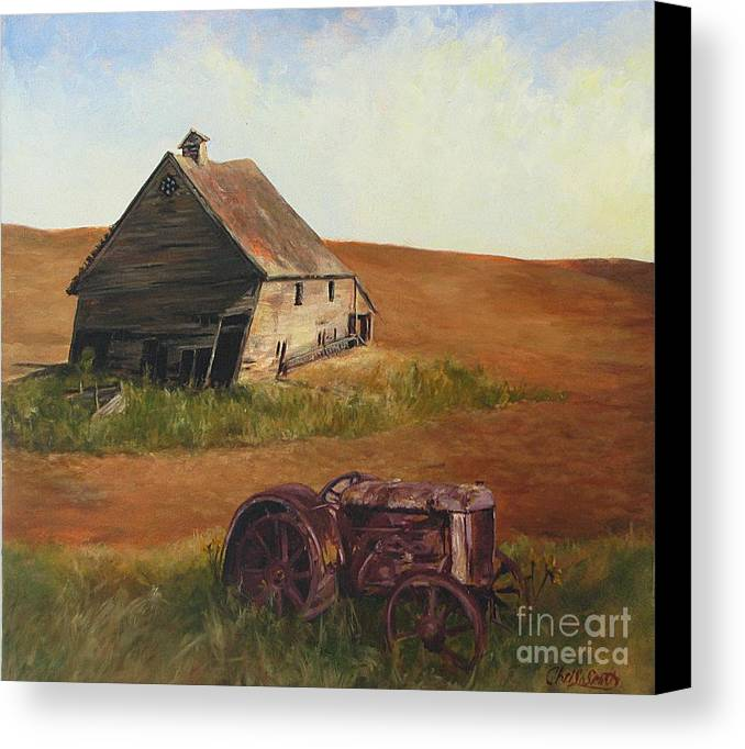 Oil Paintings Canvas Print featuring the painting The Forgotten Farm by Chris Neil Smith