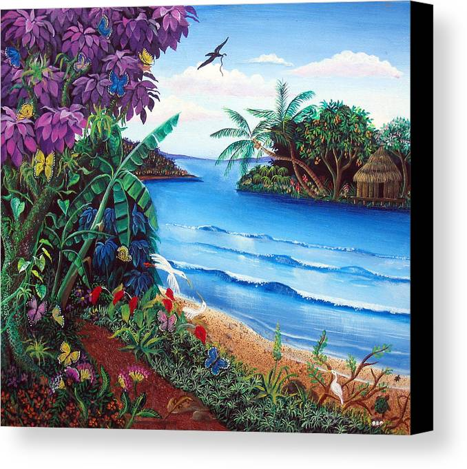 Nicaraguan Primitive Painting Style Canvas Print featuring the painting Tropical Paradise by Sarah Hornsby