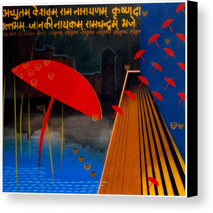 Varanasi Canvas Print featuring the painting Varanasi Truelly Infinitive by Bharat Gothwal