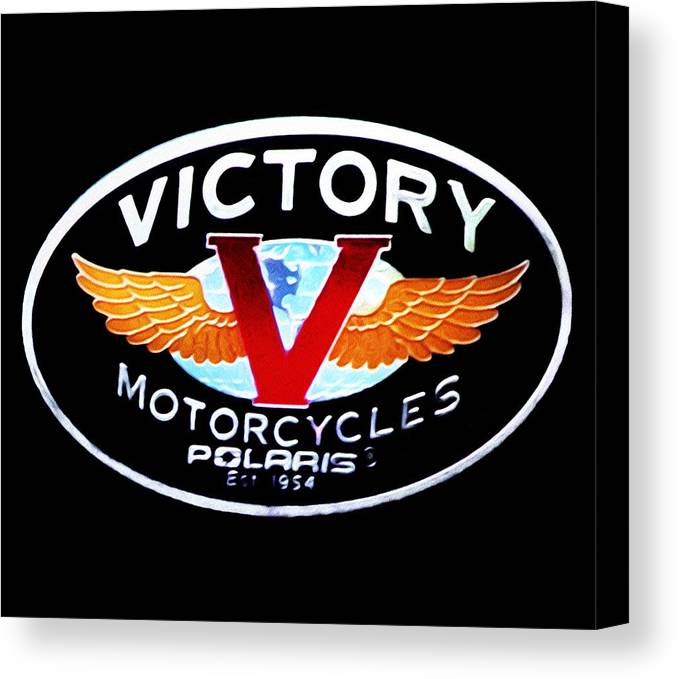 Victory Motorcycles Emblem Canvas Print featuring the photograph Victory Motorcycles Emblem by Bill Cannon