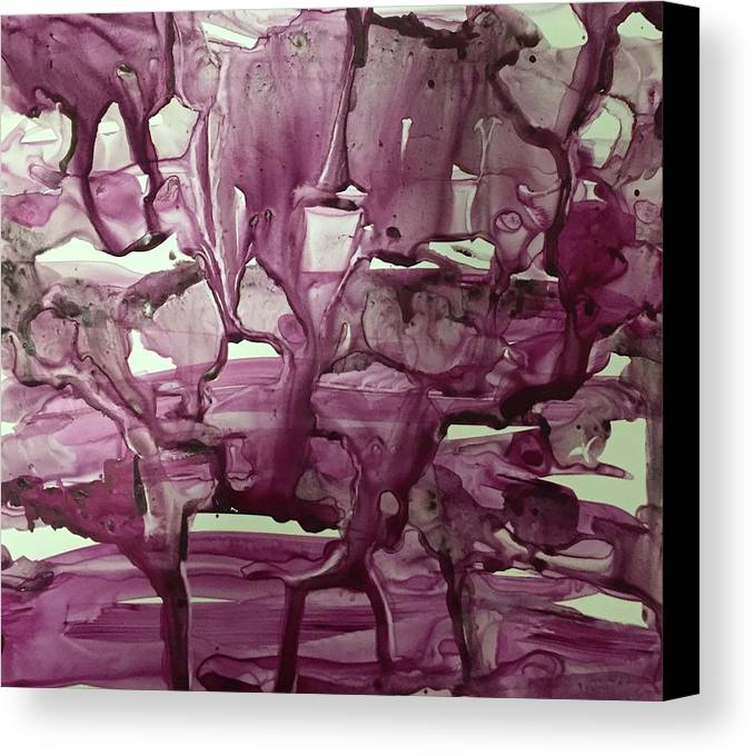 Red-violet Canvas Print featuring the painting When Red Rocks Weep by Nina Bryant