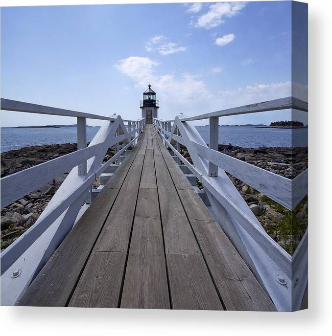 Marshall Canvas Print featuring the photograph Marshall Point Lighthouse And Walkway by Jack Nevitt