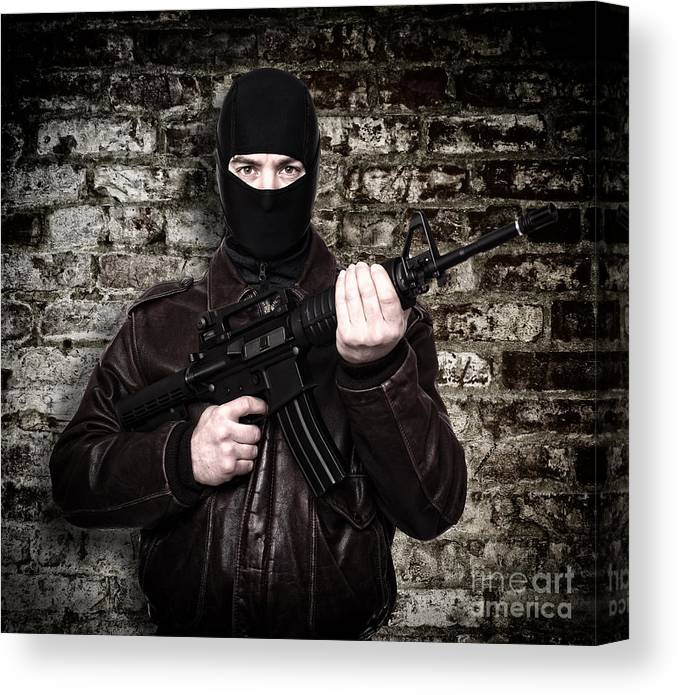 Terrorist Canvas Print featuring the photograph Terrorist Portrait by Gualtiero Boffi
