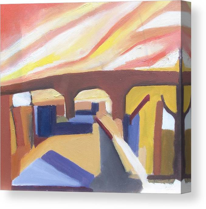 Painting Canvas Print featuring the painting A Brooklyn Abstract by Ron Erickson