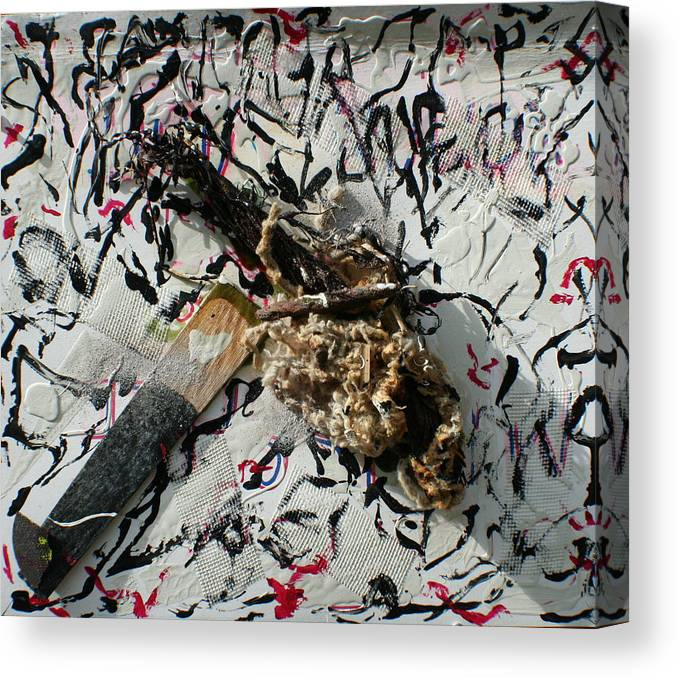 Canvas Print featuring the painting Beachfound Items by Biagio Civale