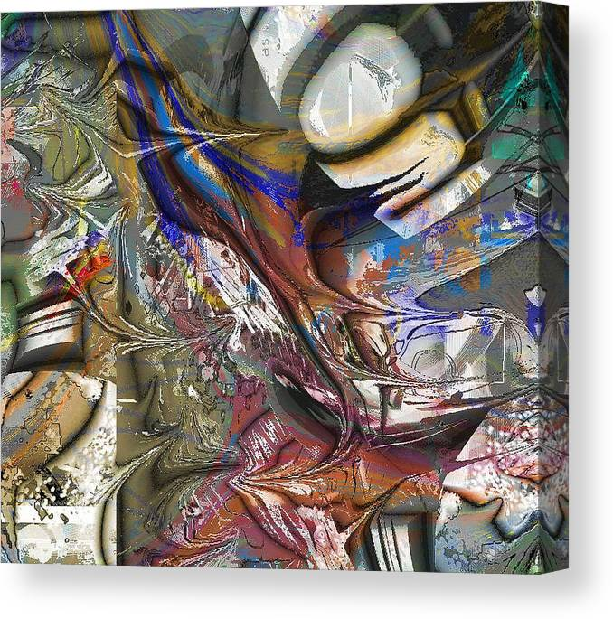 Abstract Brown Blue Canvas Print featuring the digital art Brown by Dave Kwinter