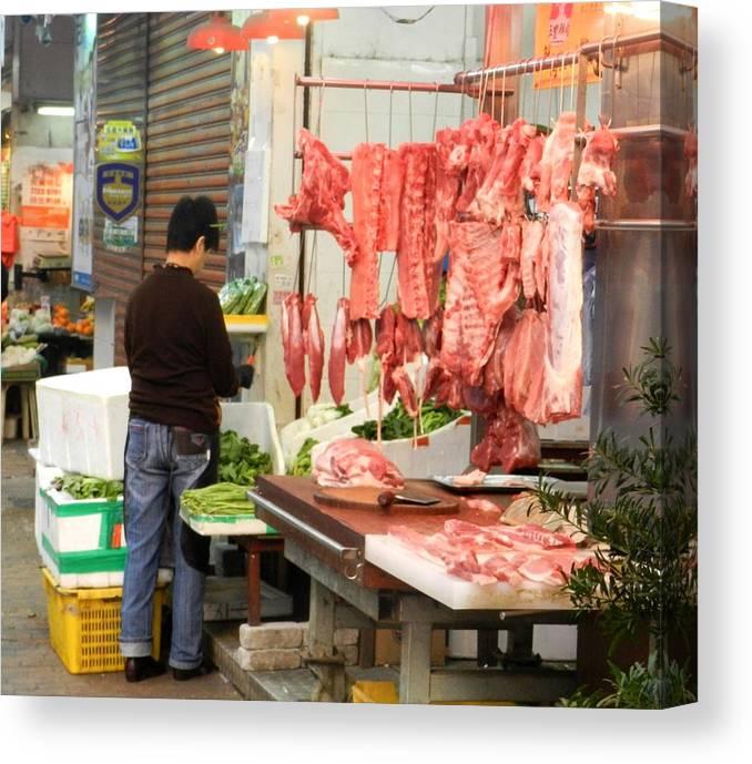 Hong Kong Markets Canvas Print featuring the photograph Market Butchery Hong Kong by Sandra Sengstock-Miller