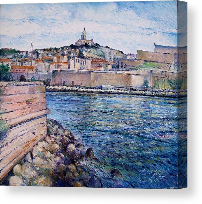 Marseilles France Canvas Print featuring the painting Marseille Pierre Plats Provence France Cm 2004 by Enver Larney