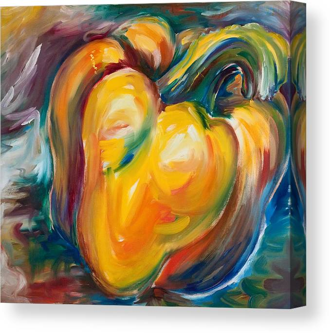 Orange Canvas Print featuring the painting Orange Pepper by Jennifer Lycke