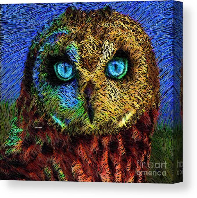 Rafael Salazar Canvas Print featuring the digital art Owl by Rafael Salazar