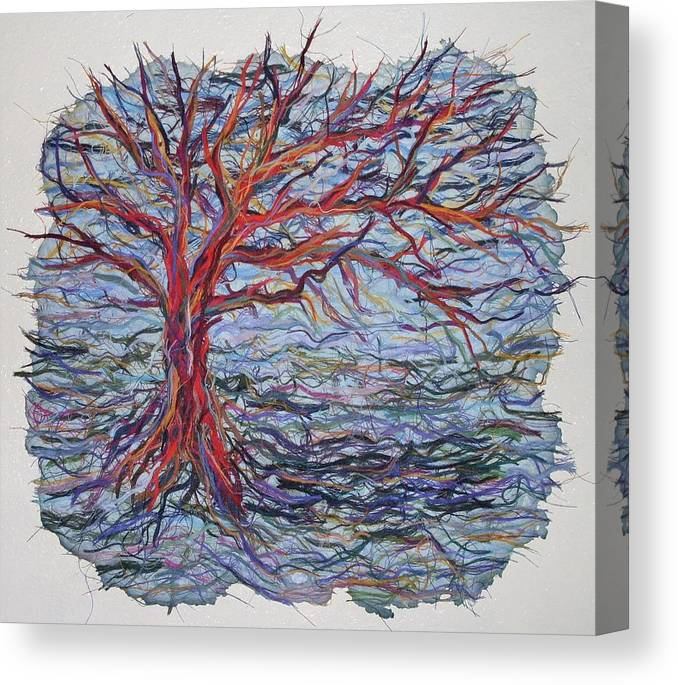 Tree Growth Textile Thread Paper Canvas Print featuring the painting String Tree - Growing By A Thread by Sally Van Driest