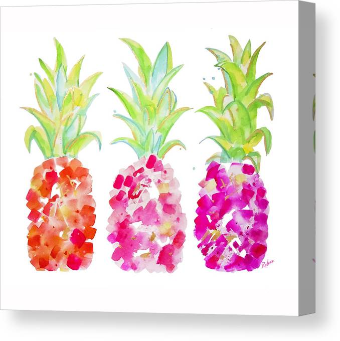 Pineapple Print Canvas Print featuring the painting Tropical Pink And Gold by Roleen Senic