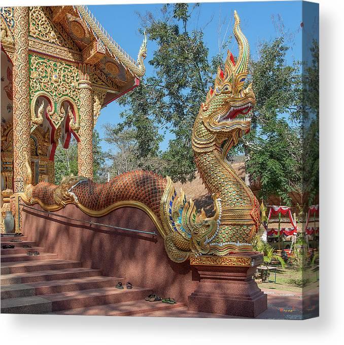 Scenic Canvas Print featuring the photograph Wat Suan Prig Phra Wihan Makara And Naga Guardian Dthcm2395 by Gerry Gantt