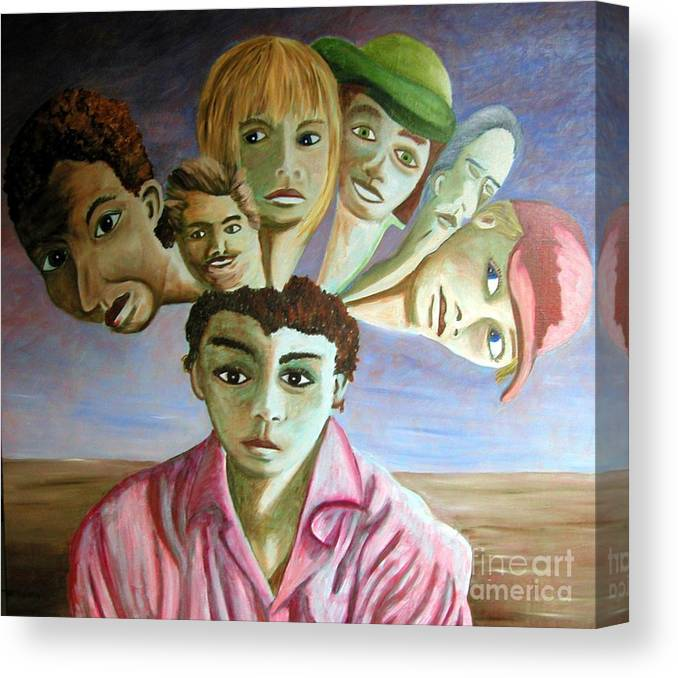 Identity (symbolic Art) Canvas Print featuring the painting Which Of My Sub Personalities Is The Real Me by Tanni Koens