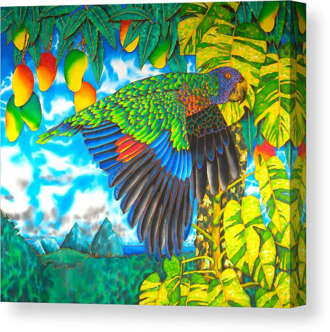 Batik Canvas Print featuring the painting Wild Parrot by Daniel Jean-Baptiste