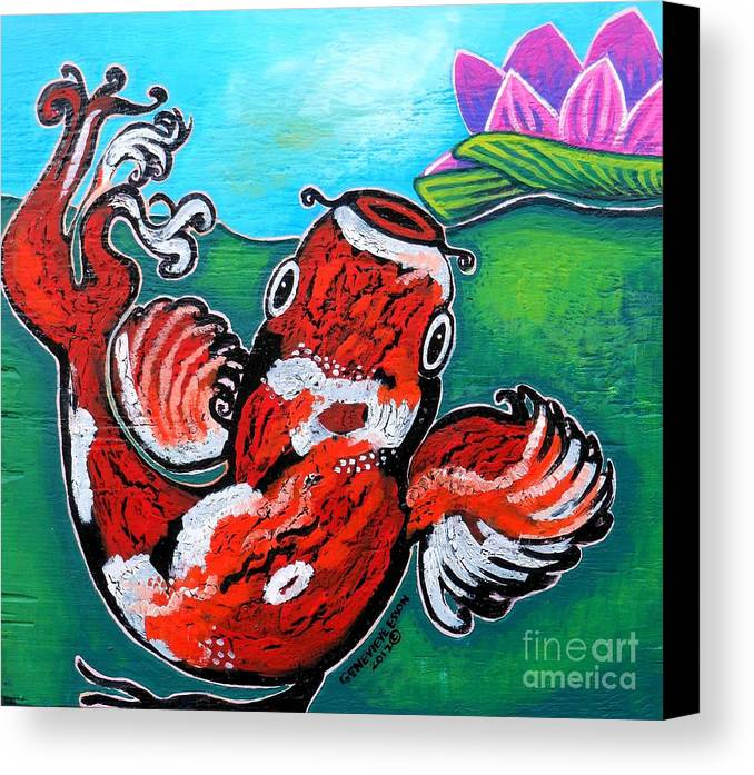 Koi fish and water lily canvas print canvas art by for Koi canvas print
