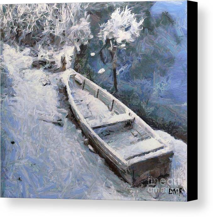 Boat Canvas Print featuring the painting Waiting For A Spring by Dragica Micki Fortuna
