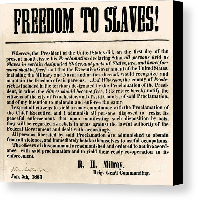 Abolition Canvas Print featuring the photograph Freedom To Slaves by Photo Researchers, Inc.