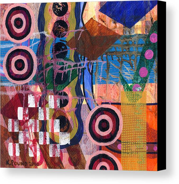 Abstract Canvas Print featuring the painting Four Targets by Kelly Pound