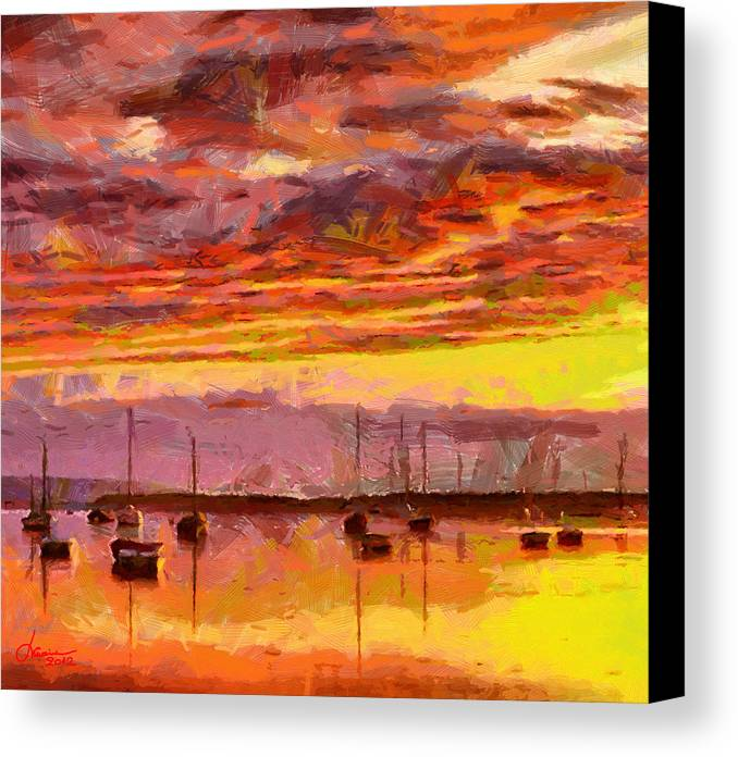 Painting Canvas Print featuring the photograph Painting With Boats At Sunset Tnm by Vincent DiNovici