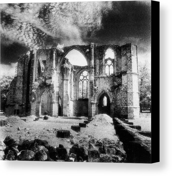 Architecture; Abbaye; Medieval; Gothic; Ruin; Ruins; Ruined; Remains; Tracery; Picturesque Canvas Print featuring the photograph Dammarie Les Lys Abbey by Simon Marsden