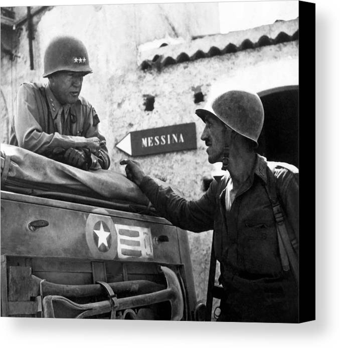 General Patton Canvas Print featuring the painting General Patton In Sicily by War Is Hell Store