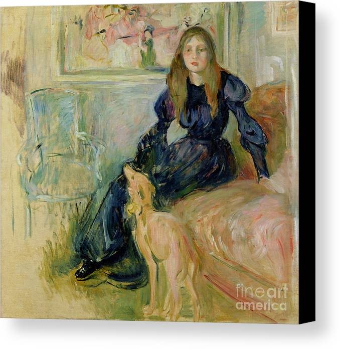 Julie Canvas Print featuring the painting Julie Manet And Her Greyhound Laerte by Berthe Morisot