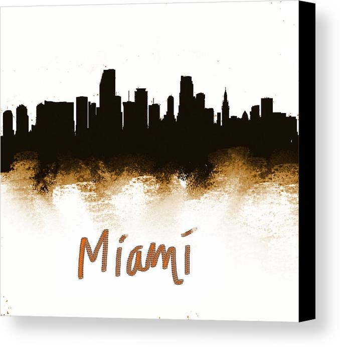 Canvas Print featuring the painting Miami Fla 2 Skyline by Enki Art