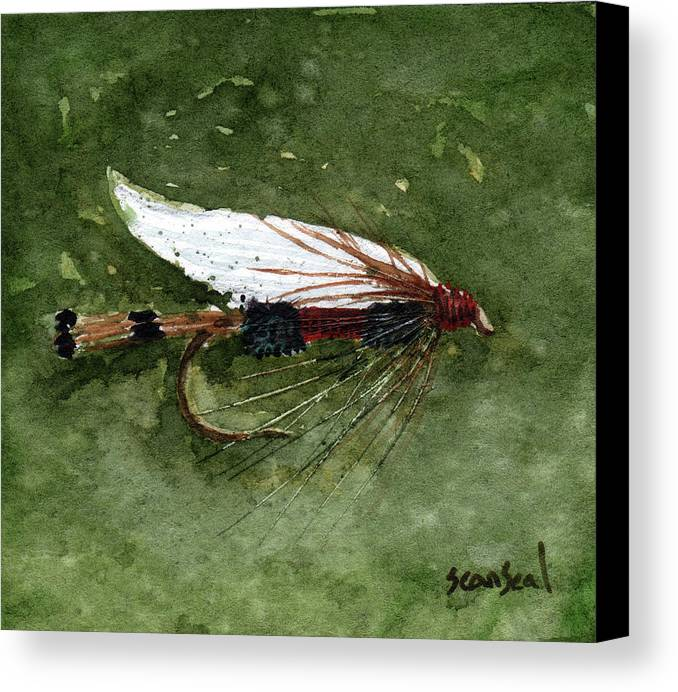 Fly Fishing Canvas Print featuring the painting Royal Coachman Wet Fly by Sean Seal