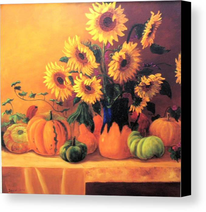 Sunflowers Canvas Print featuring the painting Sunflowers And Squash by Jeanene Stein