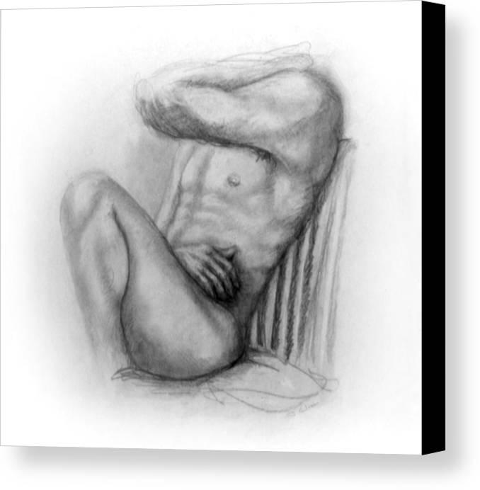 Man Canvas Print featuring the drawing Torso Chris I by John Clum