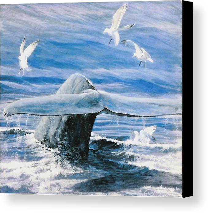 Wildlife Canvas Print featuring the painting Whale by Steve Greco