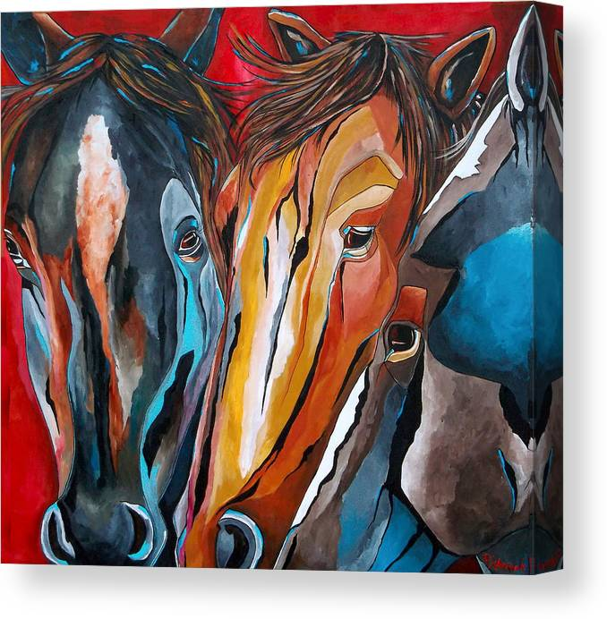 Horse Canvas Print featuring the painting Three Amigos by Patti Schermerhorn