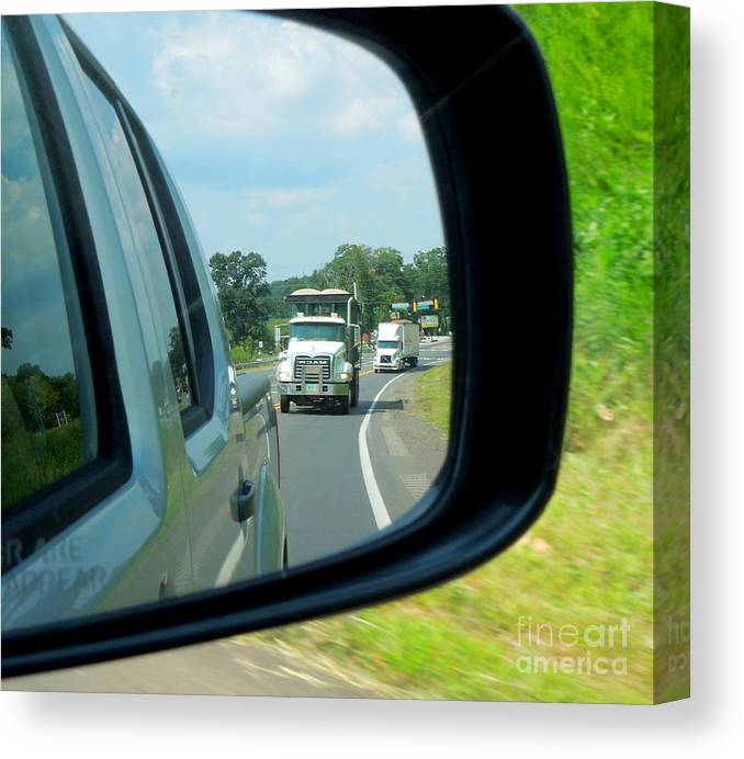 Truck Canvas Print featuring the photograph Trucks In Rear View Mirror by Renee Trenholm