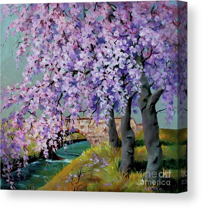 Landscape Canvas Print featuring the painting Cherry Blossoms by Marta Styk
