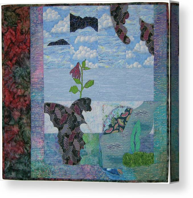 Seascape -- Surrealistic Imagery Canvas Print featuring the tapestry - textile Cloudy Fans by Salli McQuaid
