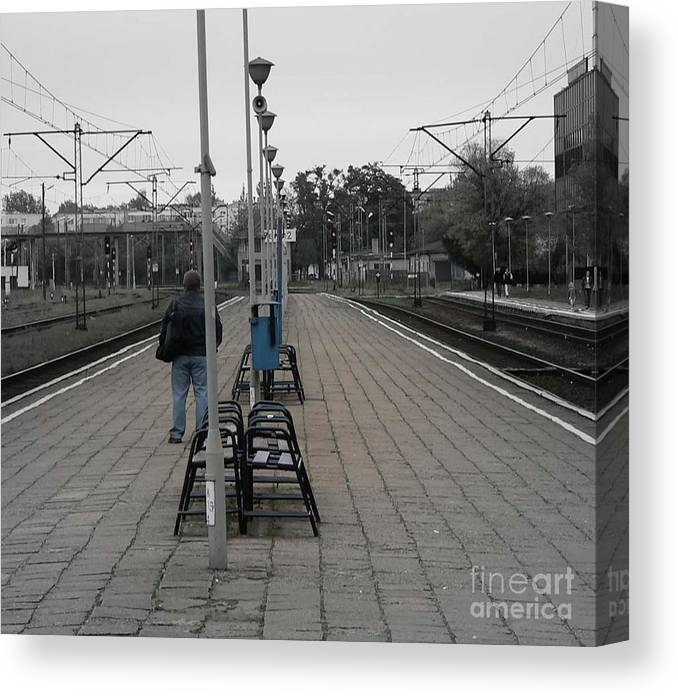 Poland Canvas Print featuring the photograph Polish Train Station by Angela Wright