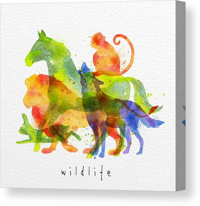 Symbol Canvas Print featuring the digital art Color Animals ,horse, Wolf, Monkey by Anna42f