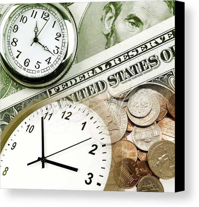 Banking Canvas Print featuring the photograph Time Is Money Concept by Les Cunliffe