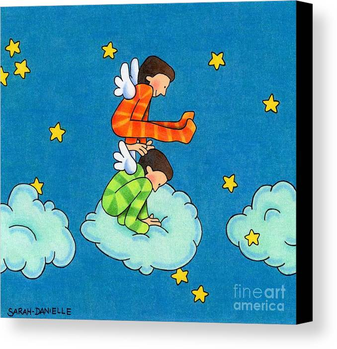 Angels Canvas Print featuring the drawing Angels Play by Sarah Batalka