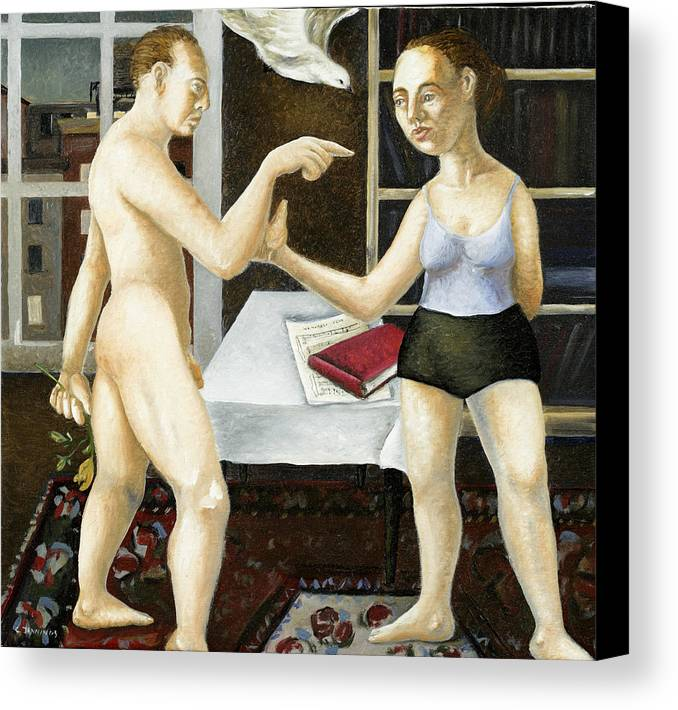 Male Canvas Print featuring the painting Annunciation Interior With Table by Caroline Jennings