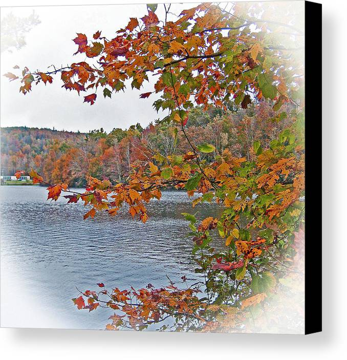 Blue Lake Canvas Print featuring the photograph Lakeside In The Fall by Patricia Taylor