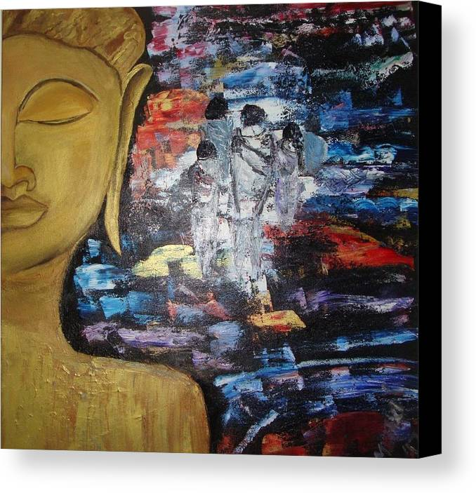 Buddha Canvas Print featuring the painting The Buddha Way by Meenakshi Chatterjee